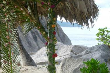 Plage de sable blanc aux Seychelles